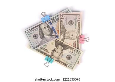 Three wads of money one hundred fifty and twenty dollars isolated on white background