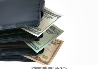 Three wallets with money showing income growth.