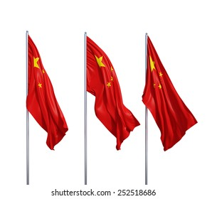 three waving flags of China  on a white background