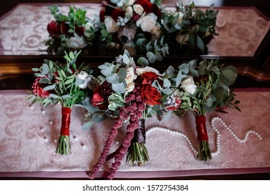 Three wedding bouquets for bride and bridesmades