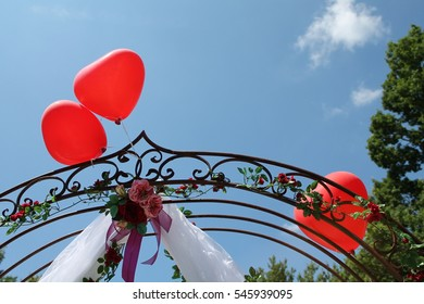 Three Wedding Heart Balloons in Sunny Garden