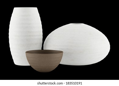 three white and brown ceramic vases isolated on black background