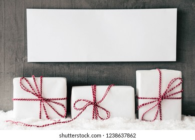 Three White Gifts With Red Ribbon, Sign, Copy Space, Snow