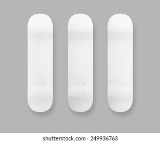 Three white skateboard isolated