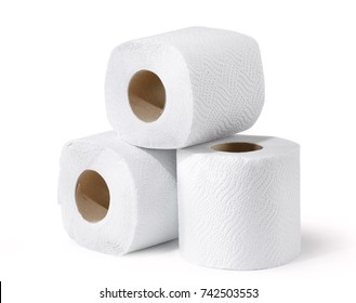Three white soft toilet paper rolls closeup