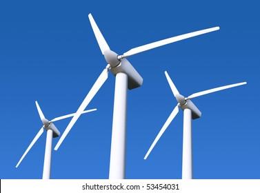 Three white wind turbine generating electricity on blue sky