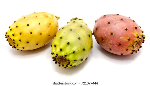 Three whole pink, green, yellow prickly pear (opuntia) isolated on white background