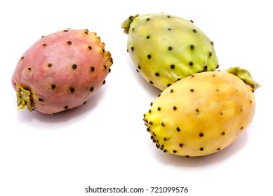 Three whole prickly pears, orange, green and yellow opuntia, isolated on white background