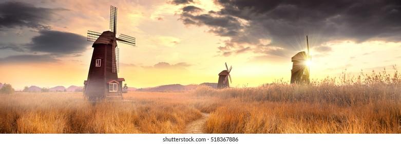 Three Windmills. South Korea, Eco Park.