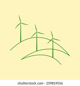 Three windmills standing on stylized outline hills isolated on yellow background. Eco concept. Logo template, design element