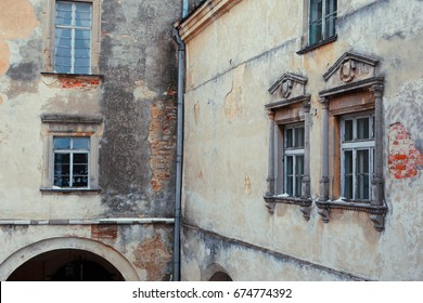 Three windows in the old house