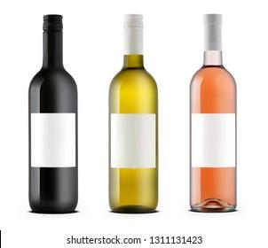 Three wine bottles  isolated on white