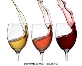 Three wine glasses up