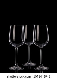Three wine glasses n black background