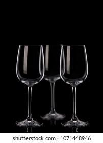 Three wine glasses n black background
