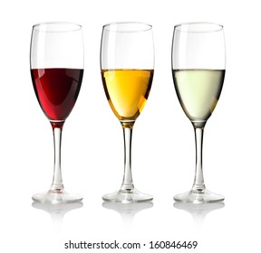 Three Wineglass with white wine.on wite background.