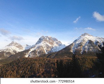 Three winter mountain peaks of the Swiss national park in the Engadine valley