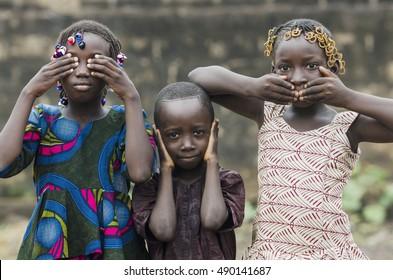 "Three wise African children - Embody the proverb: ""see no evil, hear no evil, speak no evil"""