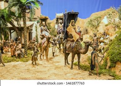Three wise men arriving in Belen Israel