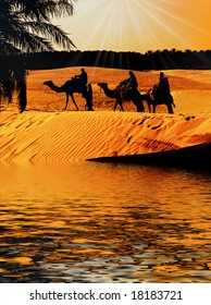 Three wise Men on Camel back reach Oasis as the Sun sets with Star shinning brightly above