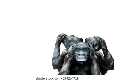 Three wise monkeys or Three Mystic Apes sacred ancient icon isolated on white background with clipping path.