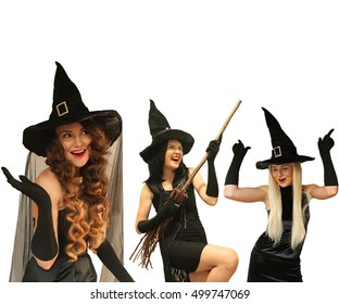 Three witches in black with broom dance, women wondering, playing isolated on white background. Halloween witch wearing black gloves and red lips. Halloween or New Year party concept