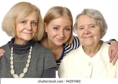 Three woman - three generations on white. MANY OTHER PHOTOS WITH THESE MODELS IN MY PORTFOLIO.