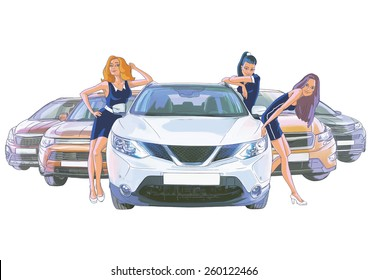 Three women near the white car and four cars behind of them on the white background