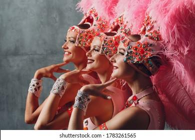 Three Women profile portrait in samba or lambada costume with pink feathers plumage.