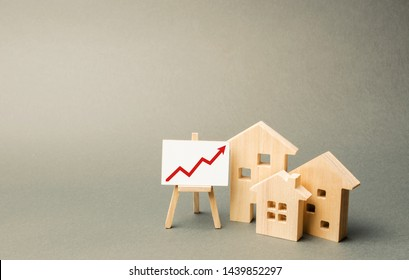 three wooden houses and a red up arrow on the sign. Real estate value increase. High rates of construction, high liquidity. Supply and demand. Rising prices for housing, building maintenance.