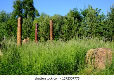 Three wooden idols of the Slavic gods. Three wooden idols of different colors of ancient Slavs stand in the middle of tall grass. Behind is a large stone. Forest in the background.