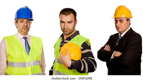 three workers isolated in a white background