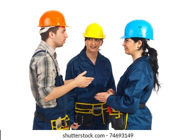 Three constructor workers team having conversation isolated on hwite background