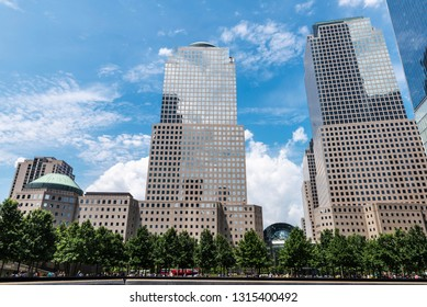Three World Financial Center in Financial District with people around in Manhattan, New York City, USA