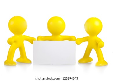 Three yellow little men hold a white banner with a place for the text