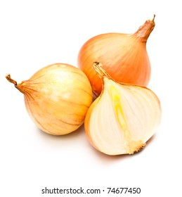 three yellow onions isolated on white background