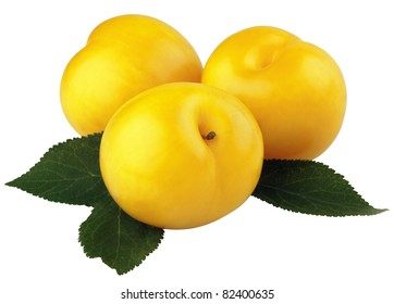 Three yellow plums with leaves isolated on white background