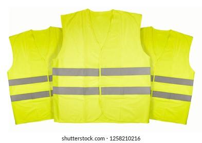 Three yellow vests on white background