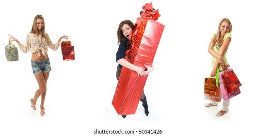 The three young beautiful girl with the gifts isolated on a white background