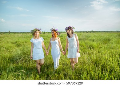 Three young beautiful girls in white dresses and wreaths of wild flowers walking on high green grass in the field holding hands and laughing. Summer in the village. Free space