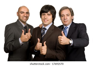 three young business men isolated on white