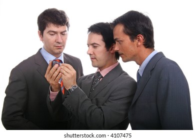 Three young business men portrait on white.