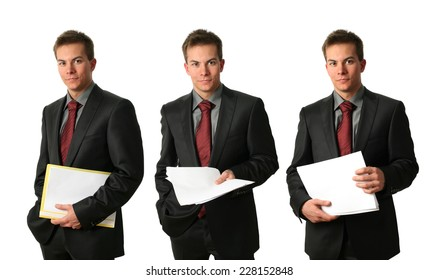 Three young businessmen with documents isolated on white