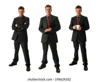 Three young businessmen holding a cup of tea isolated on white