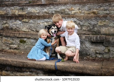 Three young children, two boys and their baby sister, are hugging their adopted pet German Shepherd Mix breed dog outside on stone steps in a park garden.