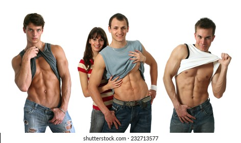 Three young muscular men showing their abs isolated on white