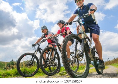 Three young people cycling in Black Forest - Feldberg/Baden Württemberg - 08 27 2008