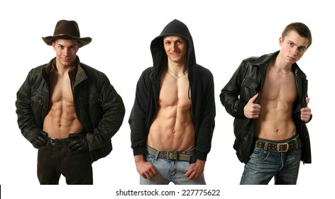 Three young sexy men in undone jackets showing muscular abs isolated on white