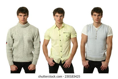 Three young sexy men wearing casual clothes isolated on white