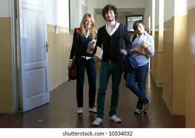 three young student at school